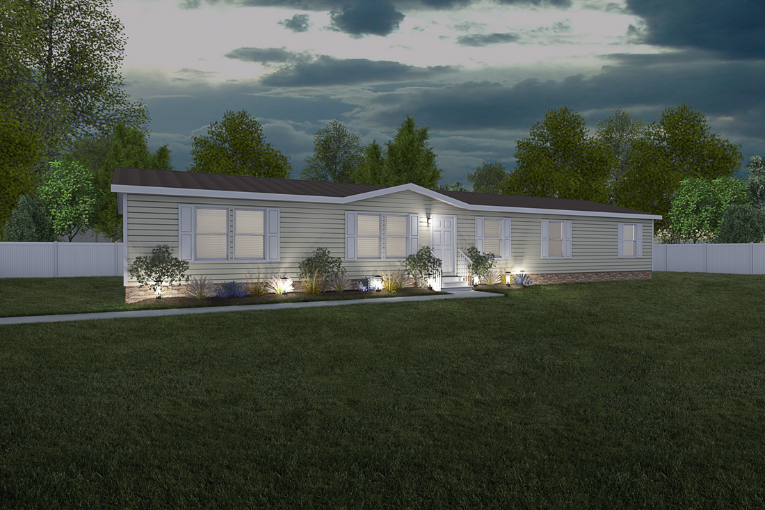 The 5607 ENTERPRISE 7228 Exterior. This Manufactured Mobile Home features 4 bedrooms and 2 baths.