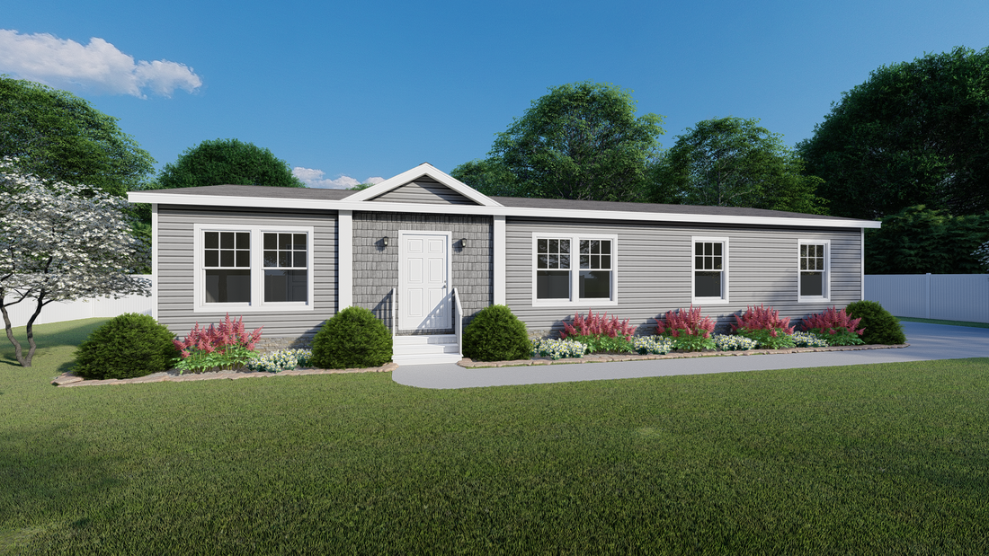 The 5609 ENTERPRISE 5628 Exterior. This Manufactured Mobile Home features 3 bedrooms and 2 baths.