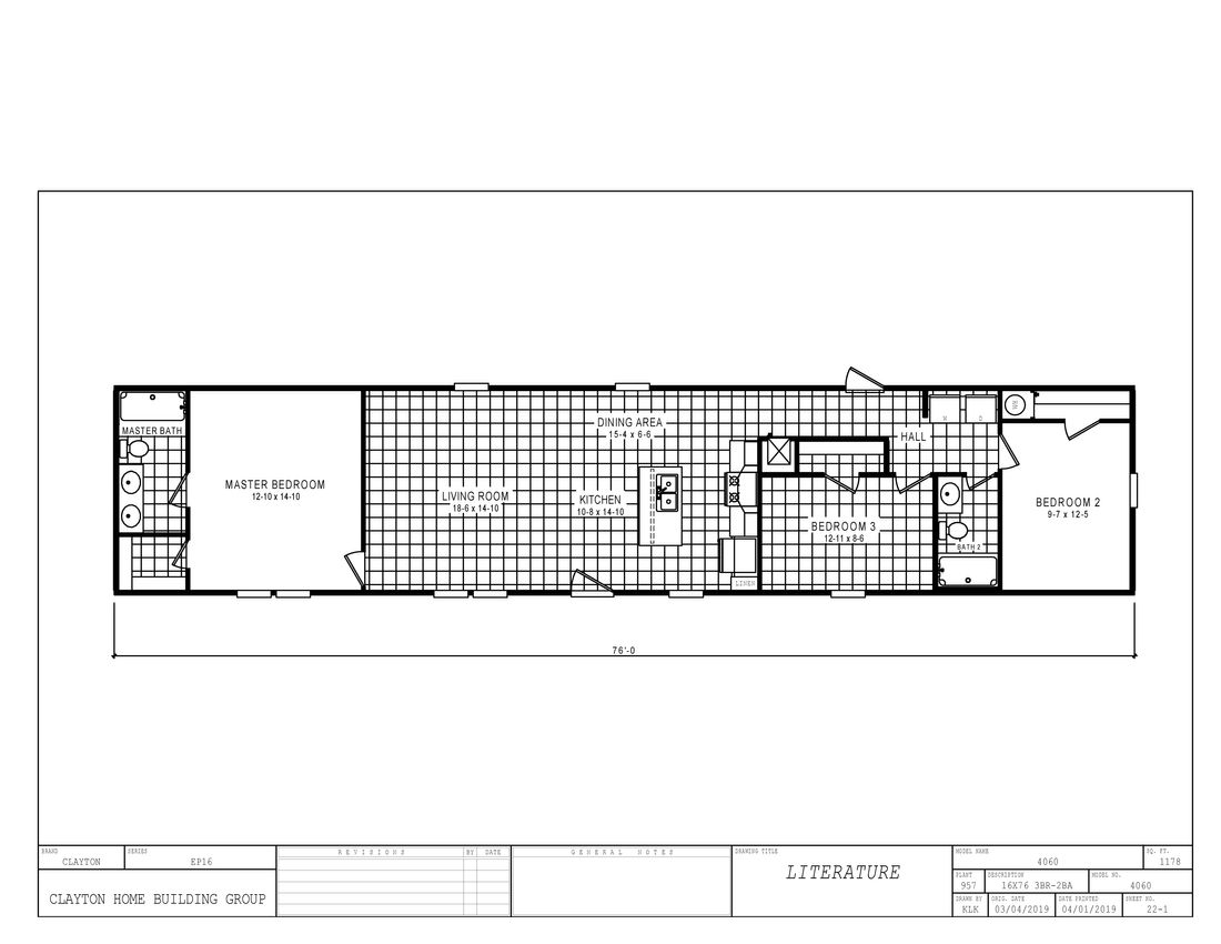 The 4060 THE CHARLOTTE 7616 Floor Plan