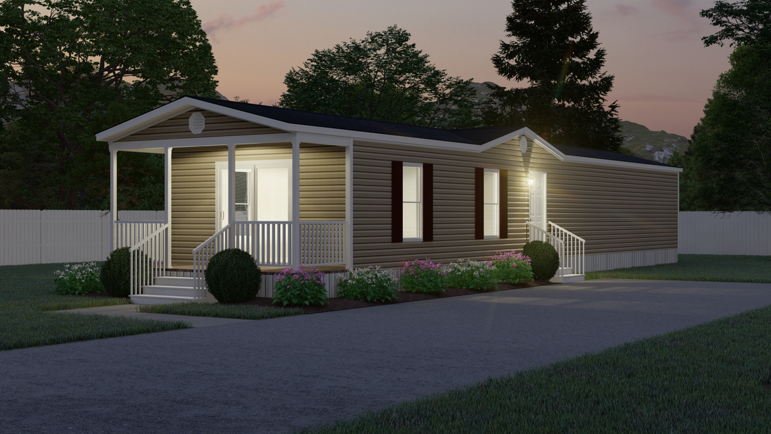 The 4058 ELITE PLUS 6216 Exterior. This Manufactured Mobile Home features 2 bedrooms and 2 baths.